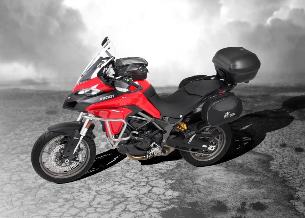 Ducati Multistrada 950 for 2017 with Hepco & Becker motorcycle luggage and accessories from Motorcycle Adventure Products
