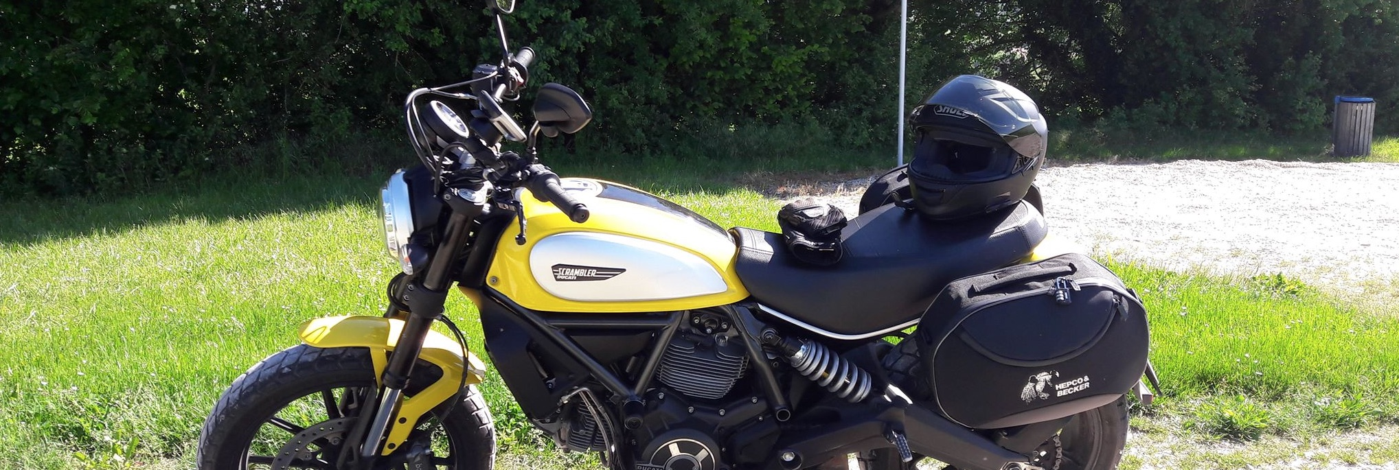 Scrambler with Hepco & Becker Cbow mount & Streebags from Motorcycle Adventure Products