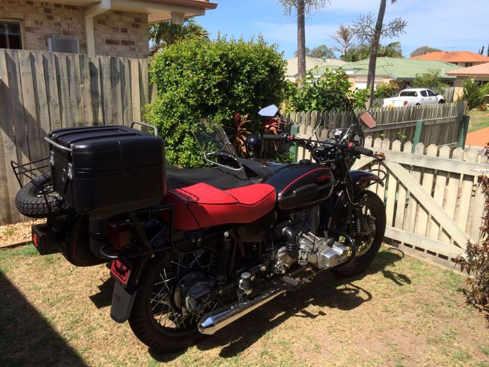 A Ural outfit fitted with a ALU universal top box mount and a TC42 Gobi Black top cases, From Motorcycle Adventure Products & Hepco & Becker, Simple!