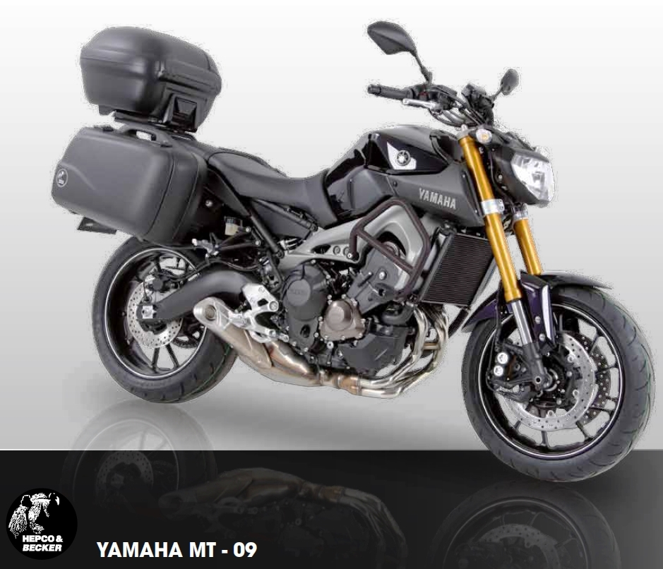 Yamaha MT-09 with Hepco Becker Lock It side frames, ALU rack, Junior side & top cases and more . All available from Motorcycle Adventure Products.