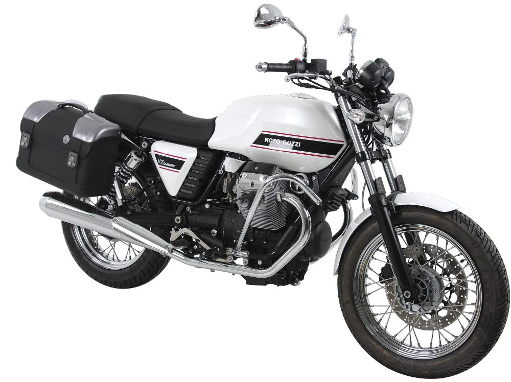 Hepco & Becker STRAYKER C-Bow mounted motorcycle city cases on Moto Guzzi's V7  Imported by Motorcycle Adventure Products