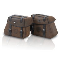 Leatherbag set Rugged Cutout 22ltr with quick release - brown 22/22 Lt