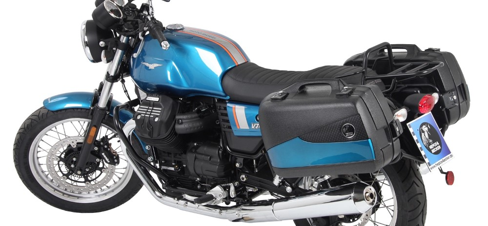 Moto Guzzi V7 III with Hepco Becker Engine Guard, Luggage Frames & Junior Flash Cases from Motorcycle Adventure Products