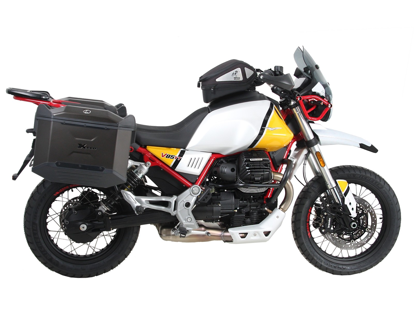 Moto Guzzi V85 TT fitted with Hepco&Becker accessories by motorcycle adventure products
